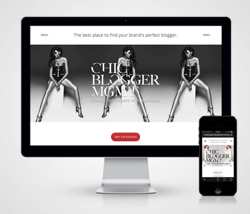 chic website homepage